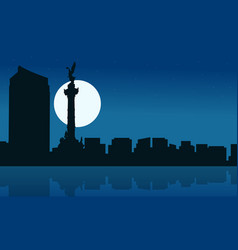 Silhouette of mexico city at night scenery vector