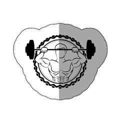 Sticker border with black contour muscle man vector