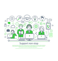 support non-stop placard vector image