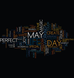The magic of may text background word cloud vector
