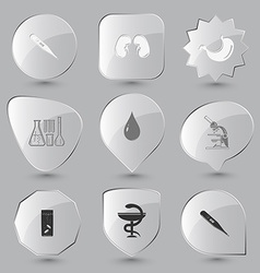 Thermometer pharma symbol glass with tablets lab vector