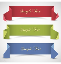 Three origami banners for design vector