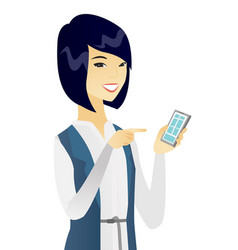 Young asian business woman holding mobile phone vector