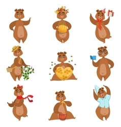 Brown bear different activities set of girly vector
