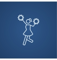 Cheerleader line icon vector