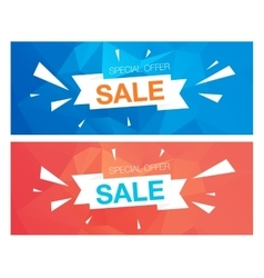 Super sale special offer banners on blue and red vector