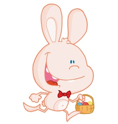 Bunny running with easter eggs in a basket vector