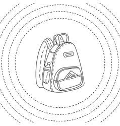 Black and white backpack hand drawn vector