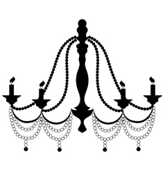Retro cryctal chandelier with candles silhouette vector