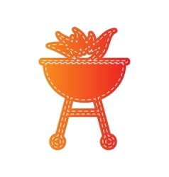 Barbecue with fire sign orange applique isolated vector