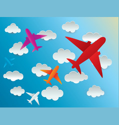 Airplane cloud on background vector