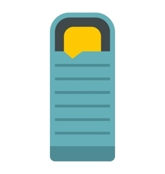 Blue sleeping bag icon flat style vector
