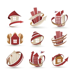 Buildings icons vector image vector image