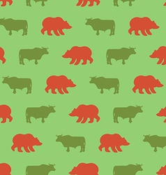 Bulls and bears seamless pattern Green Red Bull vector image vector image