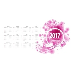 Calendar 2017 week starts from sunday purple vector image vector image