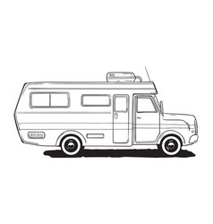 camping caravan motorhome amper car black and vector image