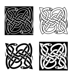 Celtic snakes arranged in traditional knot pattern vector