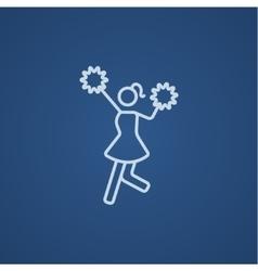 Cheerleader line icon vector