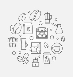 Coffee shop round in thin line vector