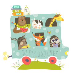 Cute animals traveling by bus vector