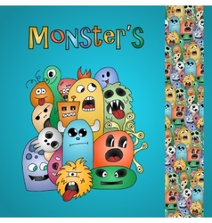 Funny cartoon monsters card and border vector image