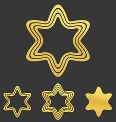 Golden line hexagram logo design set vector