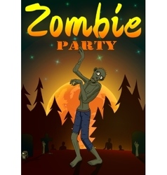 Halloween Zombie Party on orange moon background vector image
