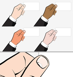 Hands holding Business Card vector image