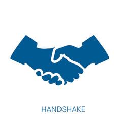 Handshake blue flat icon vector