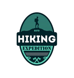 hiking outdoor expedition vintage isolated badge vector image vector image