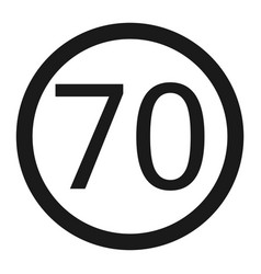 Maximum speed limit 70 sign line icon vector