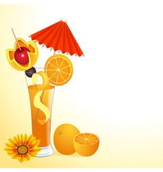 orange juice in a glass with a flower vector image vector image