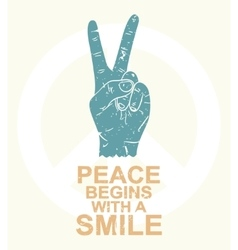 Peace begins with a smile - typography design t vector