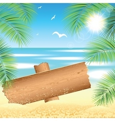 Sand beach with the palm branches vector image