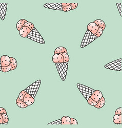 Seamless pattern with pink ice cream on mint vector