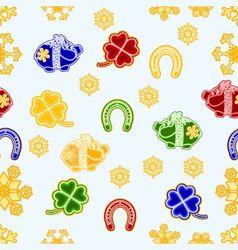 Seamless texture symbols for luck piggy cloverleaf vector