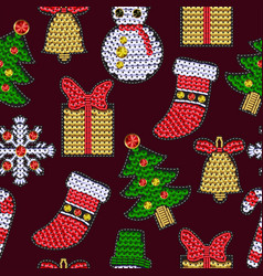 set of christmases patches with sequins vector image vector image