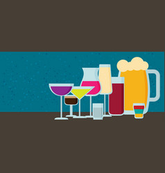 set of modern flat design drink or bar icons vector image vector image