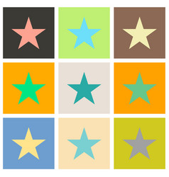 set of star flat icon flat rank favorite web vector image vector image