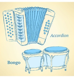 Sketch bongos and accordion in vintage style vector