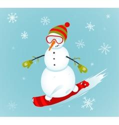 Snowman and snowboard winter sport vector