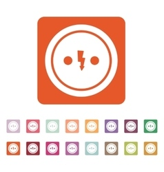 The electrical outlet icon socket symbol flat vector