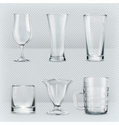 Transparent glasses goblets vector image vector image