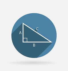 triangle math Circle blue icon with shadow vector image