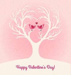 Valentines day card with 2 lovebirds vector