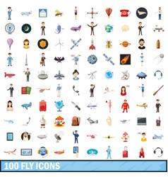 100 fly icons set cartoon style vector