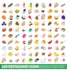 100 restaurant icons set isometric 3d style vector image