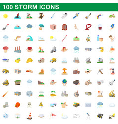 100 storm icons set cartoon style vector image vector image