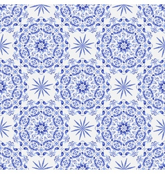 Vintage white-and-blue seamless pattern vector