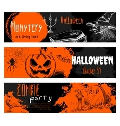 Halloween chalk sketch elements on blackboard vector